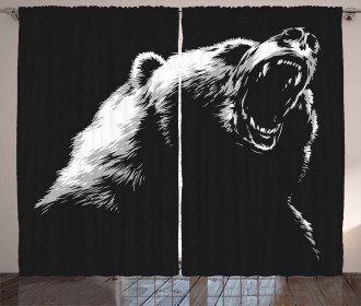 Sketch Art Carnivore Roar Curtain
