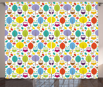 Colorful Forest Owls Curtain