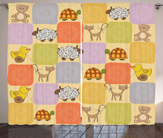 Toys Animals Checkered Curtain