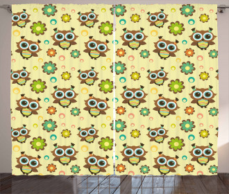 Owls Flowers Circles Curtain
