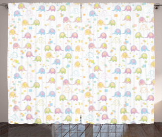 Cute Elephants Squares Curtain