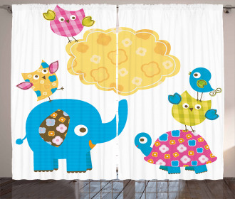Cartoon Happy Wildlife Curtain