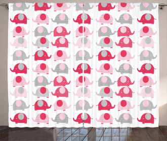Abstract Elephants Dots Curtain