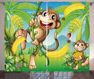 Two Monkeys and Bananas Curtain