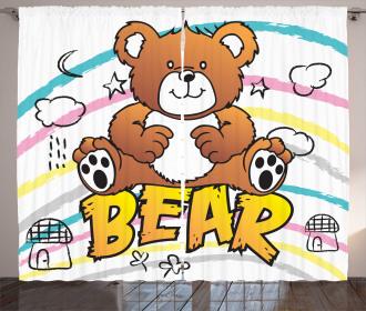 Brown Bears on Stripes Curtain