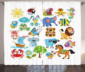 Various Animal Figures Curtain