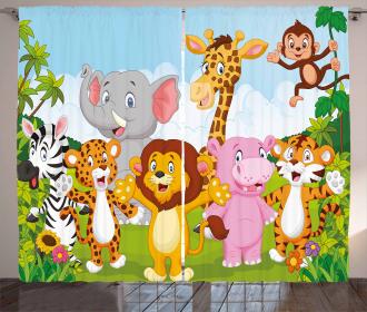 Comic African Savannah Curtain