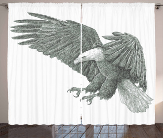 Monochrome Drawing Style Curtain