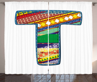 Writing Retro Letter Curtain