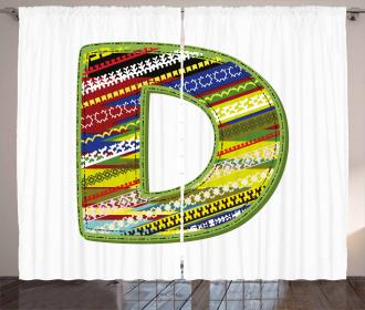 Letter Ornament Retro Curtain