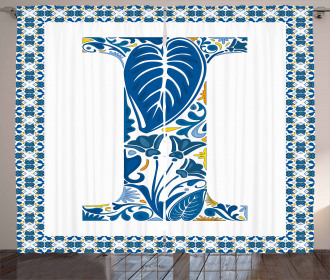 Flower Patterned Sign Curtain