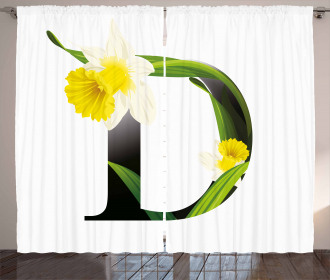 D Silhouette Daffodils Curtain