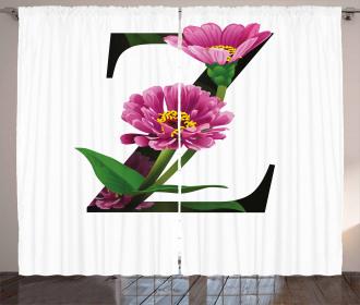 Zinnia Petals Leaves Z Curtain