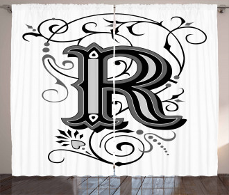 Antique R Typography Curtain