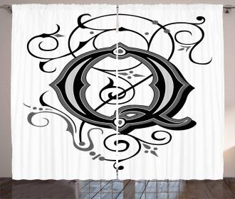 Gothic Q Flowers Art Curtain