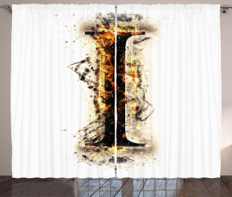 Charred I with Flames Curtain