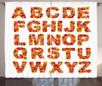 Alphabet Gerbera Flora Curtain