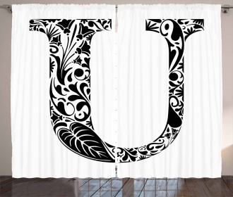 Monochrome Capital U Curtain