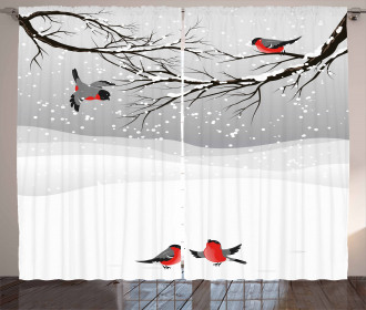 Wintertime Cartoon Birds Curtain