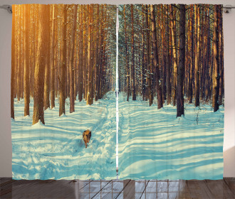 Skier Running Dog Forest Curtain