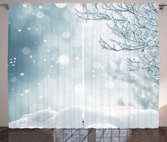 Christmas Time Tree Snow Curtain