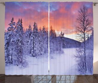 Frozen River Sunrise Curtain