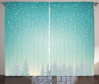Spruce Forest Snow Woods Curtain