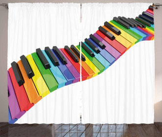 Vibrant Keyboard Arts Curtain