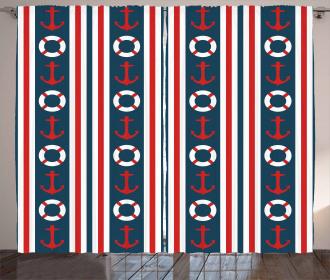 Stripes Maritime Icons Curtain