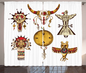 Tribal Animal Totems Curtain