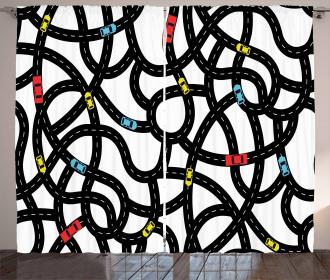 Urban Themed Road Design Curtain