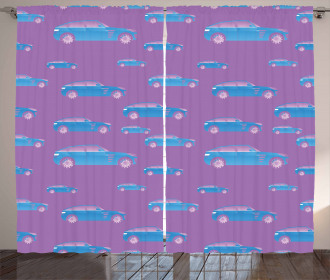 Blue Automobile Sports Car Curtain