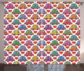 Love Themed Cute Wheels Curtain