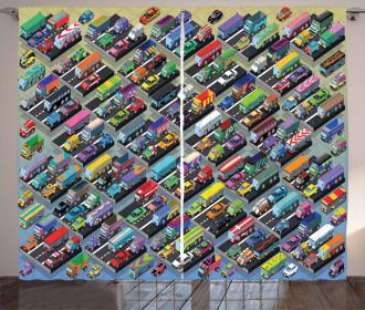 Detailed Vibrant Car Park Curtain