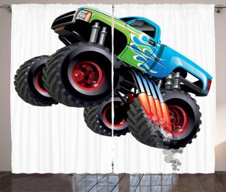 Monster Truck Cool Cartoon Curtain