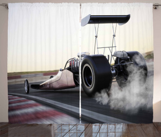 Dragster Racign down Track Curtain