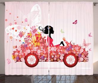 Girl on a Car Floral Box Curtain