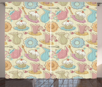 Retro Cupcakes Mugs Curtain