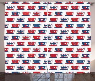 Great Britain Teacups Curtain