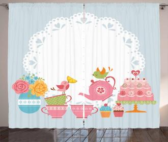 Birds Drinking Tea Curtain