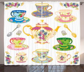 Vivid Teacups Sweets Curtain