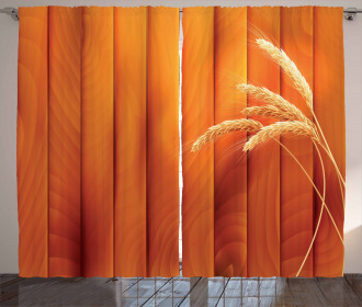 Wheat Spikes Wood Plank Curtain