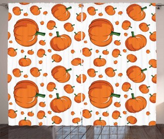 Halloween Plump Pumpkin Curtain