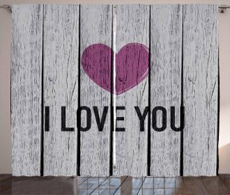 Words on Wood Planks Curtain