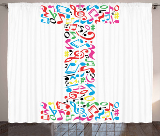 Uppercase Music Style Curtain