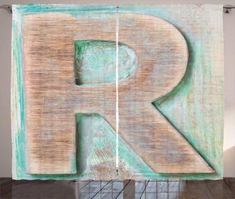 Alphabet Letterpress R Curtain