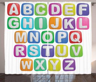 Colorful Alphabet Set Curtain