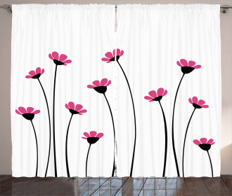 Pink Daisy Blossoms Curtain