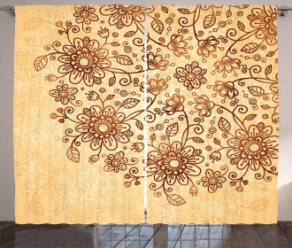 Nature Themed Doodle Curtain
