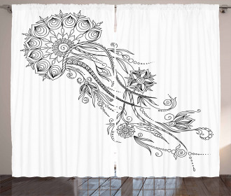 Floral Jellyfish Aquatic Curtain